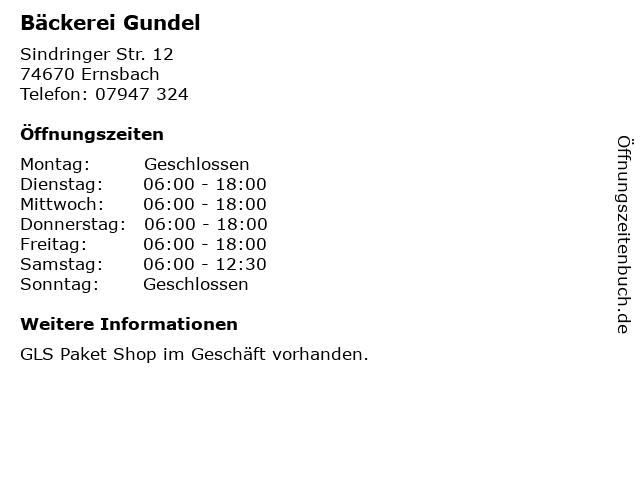Bäckerei Gundel in Ernsbach: Adresse und Öffnungszeiten