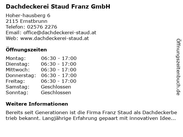 Dachdeckerei Staud Franz GmbH in Ernstbrunn: Adresse und Öffnungszeiten