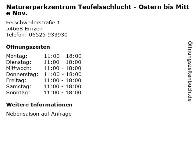 Naturerparkzentrum Teufelsschlucht - Ostern bis Mitte Nov. in Ernzen: Adresse und Öffnungszeiten