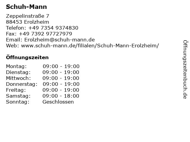 Schuh-Mann in Erolzheim: Adresse und Öffnungszeiten