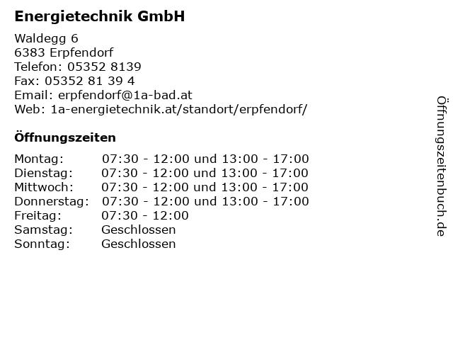 Energietechnik GmbH in Erpfendorf: Adresse und Öffnungszeiten