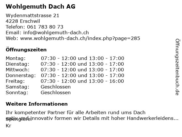 Wohlgemuth Dach AG in Erschwil: Adresse und Öffnungszeiten