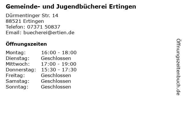 Gemeinde- und Jugendbücherei Ertingen in Ertingen: Adresse und Öffnungszeiten