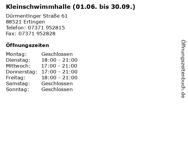 Kleinschwimmhalle (01.06. bis 30.09.) in Ertingen: Adresse und Öffnungszeiten