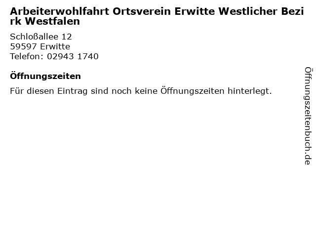 Arbeiterwohlfahrt Ortsverein Erwitte Westlicher Bezirk Westfalen in Erwitte: Adresse und Öffnungszeiten