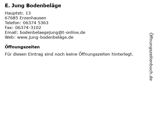 ᐅ Offnungszeiten E Jung Bodenbelage Hauptstr 13 In Erzenhausen
