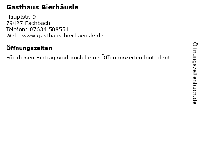 Gasthaus Bierhäusle in Eschbach: Adresse und Öffnungszeiten