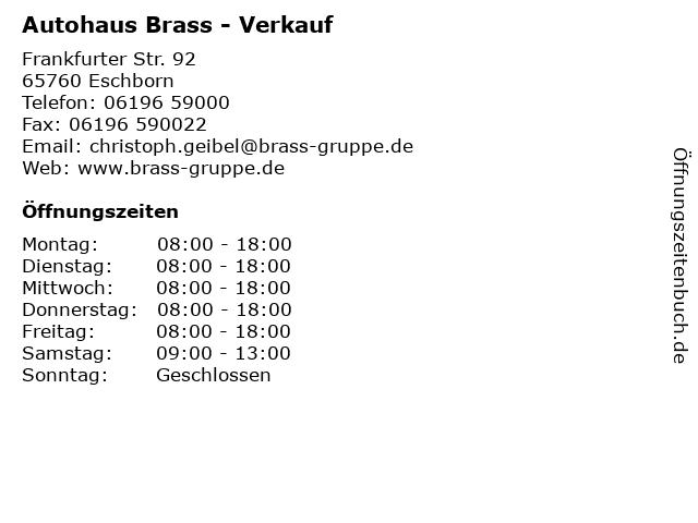 """ᐅ Öffnungszeiten """"autohaus brass - verkauf""""   frankfurter str. 92"""