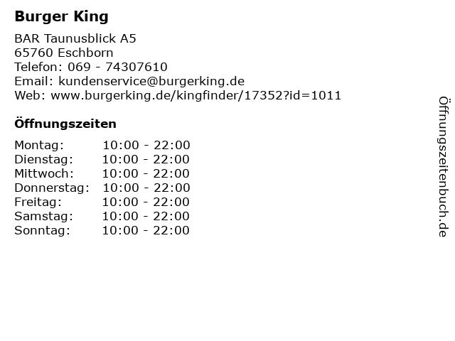 Burger King in Eschborn: Adresse und Öffnungszeiten