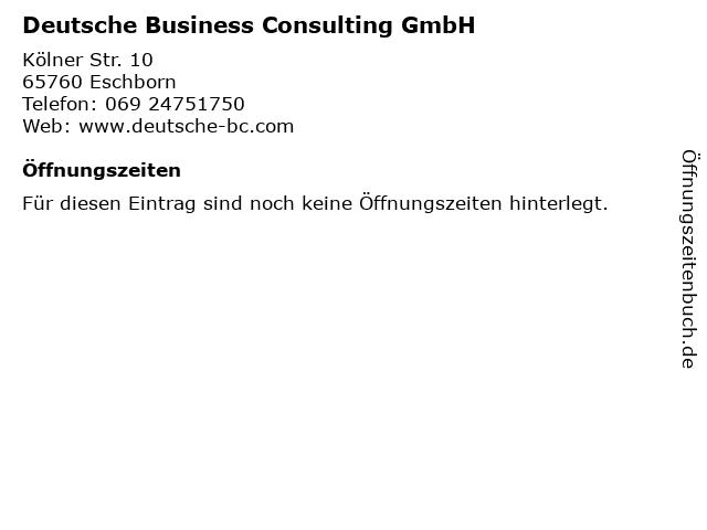 Deutsche Business Consulting GmbH in Eschborn: Adresse und Öffnungszeiten
