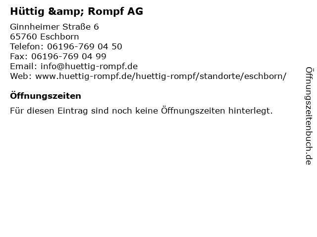 Hüttig & Rompf AG in Eschborn: Adresse und Öffnungszeiten