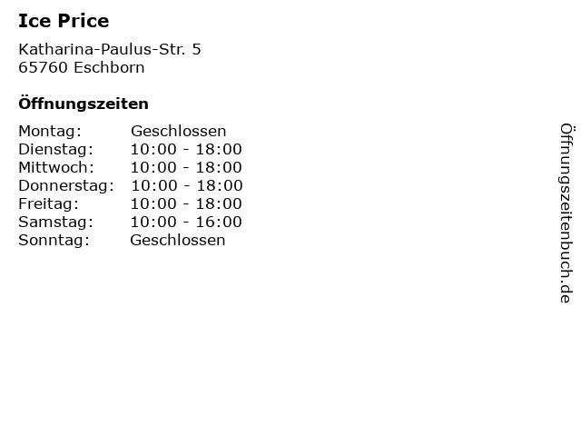 Ice Price in Eschborn: Adresse und Öffnungszeiten
