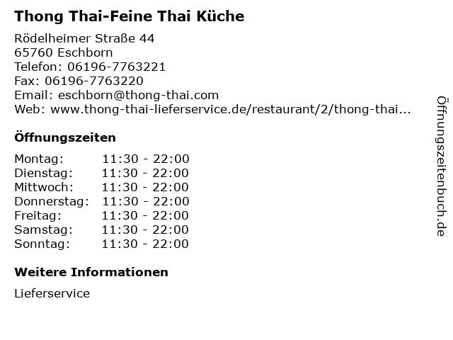 Lieverservice Thong Thai-Feine Thai Küche in Eschborn: Adresse und Öffnungszeiten