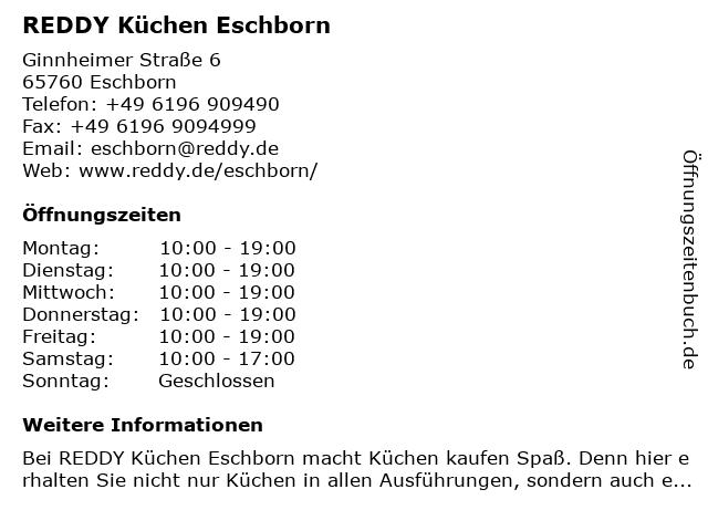 ᐅ Offnungszeiten Reddy Kuchen Eschborn Ginnheimer Strasse 6 In