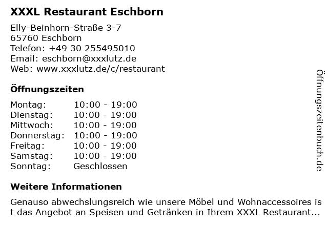 ᐅ öffnungszeiten Xxxl Restaurant Eschborn Elly Beinhorn Straße