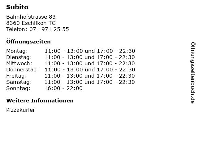 Subito in Eschlikon TG: Adresse und Öffnungszeiten
