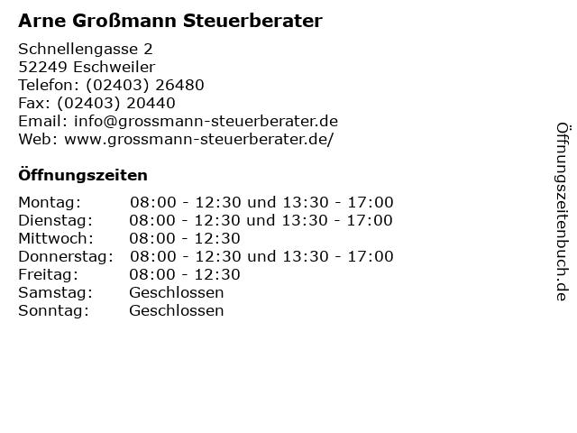 Arne Großmann Steuerberater in Eschweiler: Adresse und Öffnungszeiten