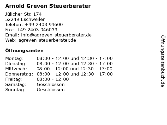 Arnold Greven Steuerberater in Eschweiler: Adresse und Öffnungszeiten
