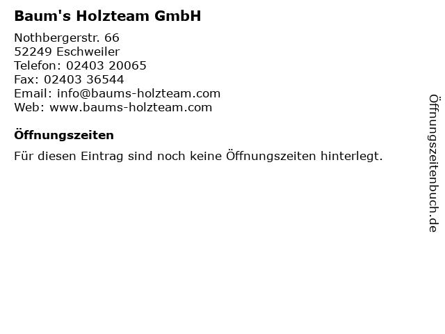 Baum's Holzteam GmbH in Eschweiler: Adresse und Öffnungszeiten