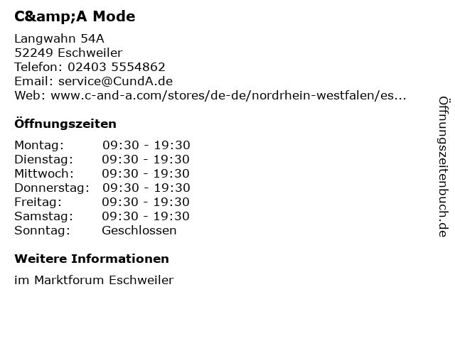 C&A Mode GmbH & Co. KG (Small Family) in Eschweiler: Adresse und Öffnungszeiten