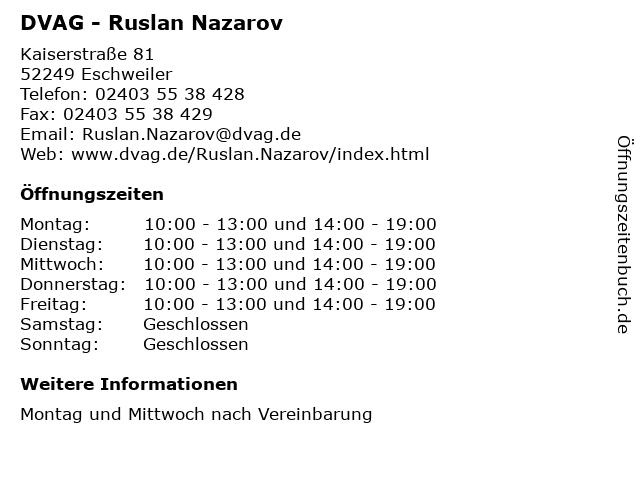 DVAG - Ruslan Nazarov in Eschweiler: Adresse und Öffnungszeiten