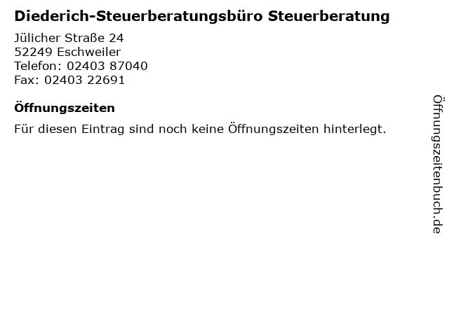 Diederich-Steuerberatungsbüro Steuerberatung in Eschweiler: Adresse und Öffnungszeiten