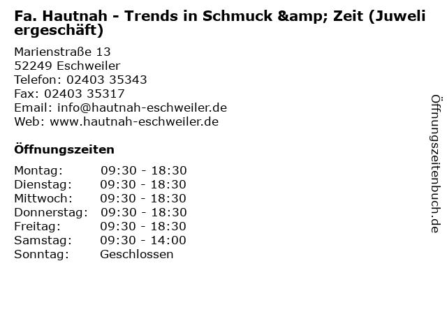 Fa. Hautnah - Trends in Schmuck & Zeit (Juweliergeschäft) in Eschweiler: Adresse und Öffnungszeiten