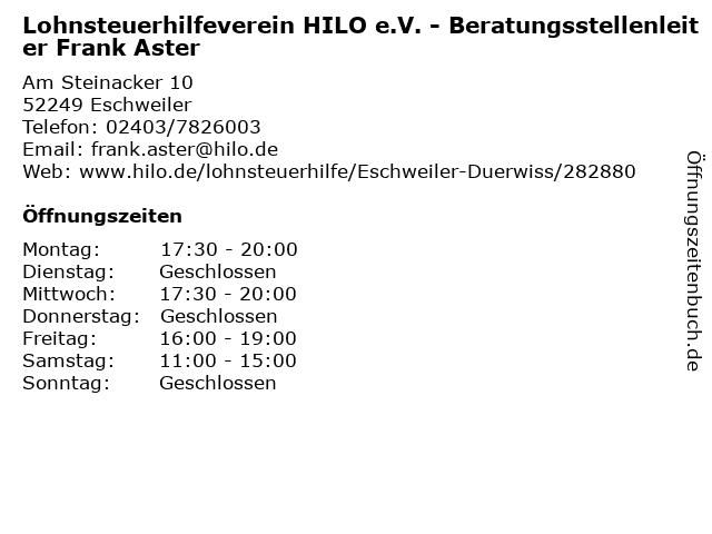 Lohnsteuerhilfeverein HILO e.V. - Beratungsstellenleiter Frank Aster in Eschweiler: Adresse und Öffnungszeiten