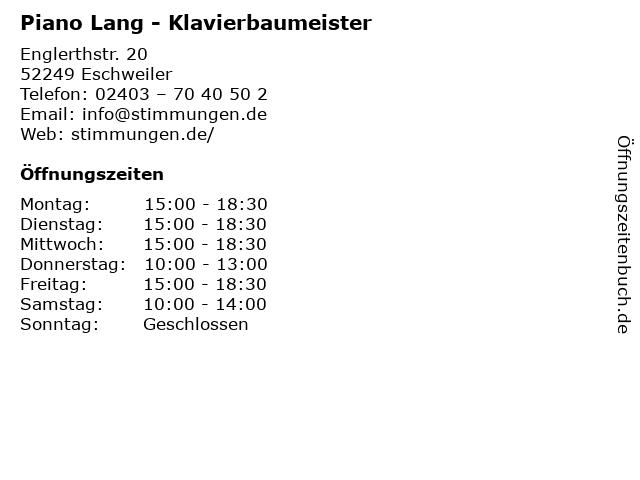 Piano Lang - Klavierbaumeister in Eschweiler: Adresse und Öffnungszeiten
