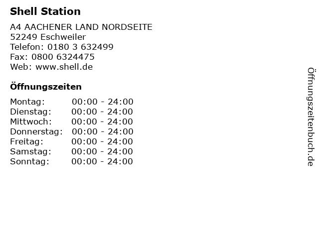 Shell Station in Eschweiler: Adresse und Öffnungszeiten