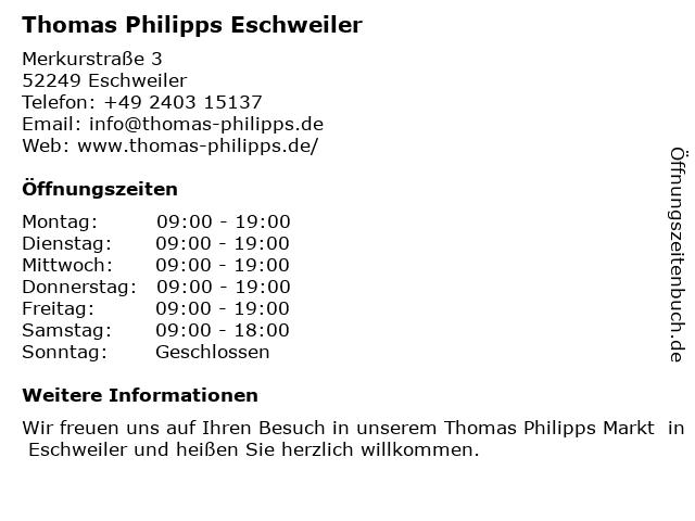 Thomas Phillips Sonderposten in Eschweiler: Adresse und Öffnungszeiten