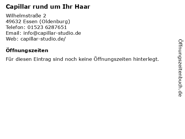 Capillar rund um Ihr Haar in Essen (Oldenburg): Adresse und Öffnungszeiten