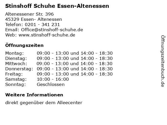 Stinshoff Schuhe Essen-Altenessen in Essen- Altenessen: Adresse und Öffnungszeiten