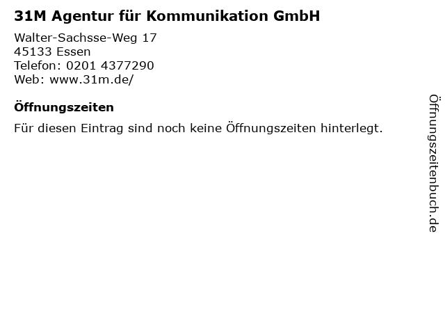 31M Agentur für Kommunikation GmbH in Essen: Adresse und Öffnungszeiten