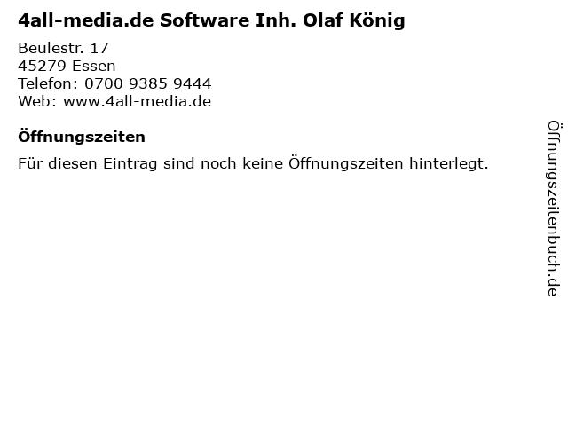 4all-media.de Software Inh. Olaf König in Essen: Adresse und Öffnungszeiten
