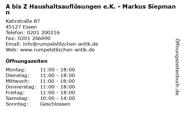 A bis Z Haushaltsauflösungen e.K. - Markus Siepmann in Essen: Adresse und Öffnungszeiten