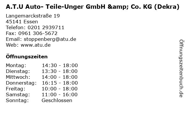 A.T.U Auto- Teile-Unger GmbH & Co. KG (Dekra) in Essen: Adresse und Öffnungszeiten