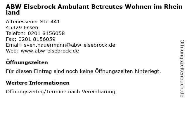 ABW Elsebrock Ambulant Betreutes Wohnen im Rheinland in Essen: Adresse und Öffnungszeiten