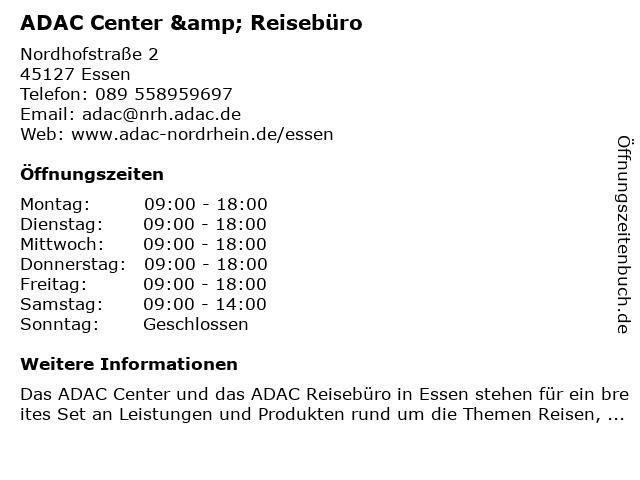 ADAC Center & Reisebüro in Essen: Adresse und Öffnungszeiten