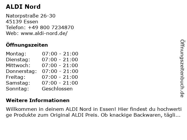 ALDI Nord in Essen: Adresse und Öffnungszeiten