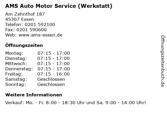 AMS Auto Motor Service (Werkstatt) in Essen: Adresse und Öffnungszeiten