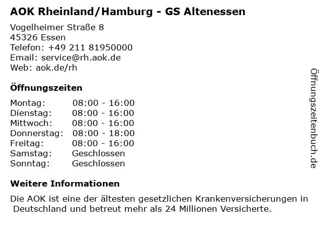 AOK Rheinland/Hamburg - GS Altenessen in Essen: Adresse und Öffnungszeiten