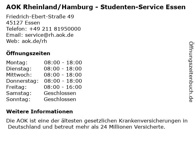 AOK Rheinland/Hamburg - Studenten-Service Essen in Essen: Adresse und Öffnungszeiten