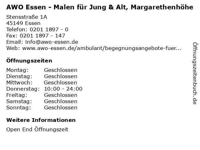 AWO Essen - Malen für Jung & Alt, Margarethenhöhe in Essen: Adresse und Öffnungszeiten
