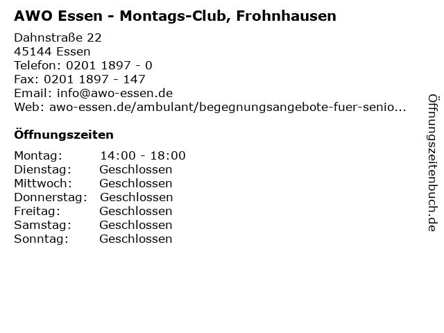 AWO Essen - Montags-Club, Frohnhausen in Essen: Adresse und Öffnungszeiten