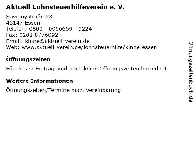 Aktuell Lohnsteuerhilfeverein e. V. in Essen: Adresse und Öffnungszeiten