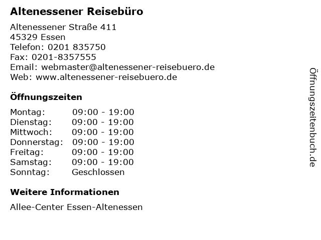 Altenessener Reisebüro in Essen: Adresse und Öffnungszeiten