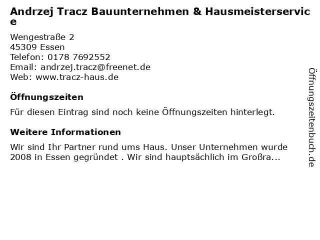 Andrzej Tracz Bauunternehmen & Hausmeisterservice in Essen: Adresse und Öffnungszeiten
