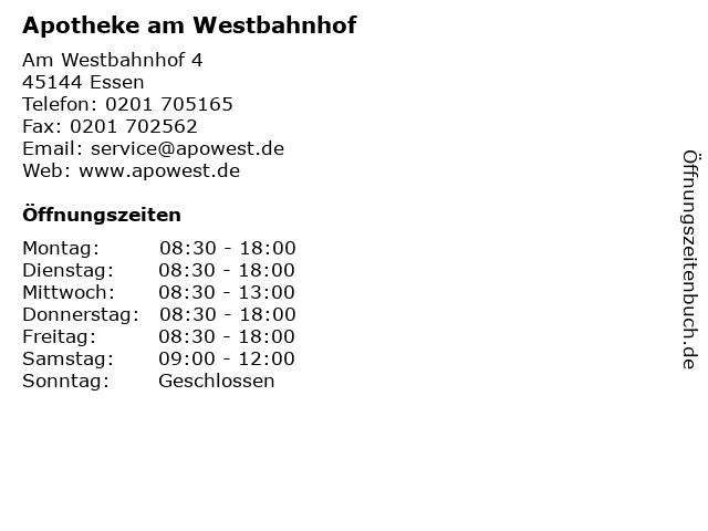 Apotheke am Westbahnhof in Essen: Adresse und Öffnungszeiten