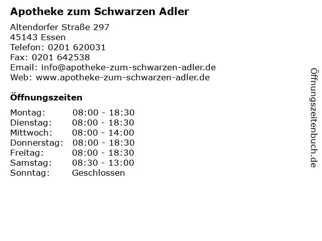 Apotheke zum Schwarzen Adler in Essen: Adresse und Öffnungszeiten